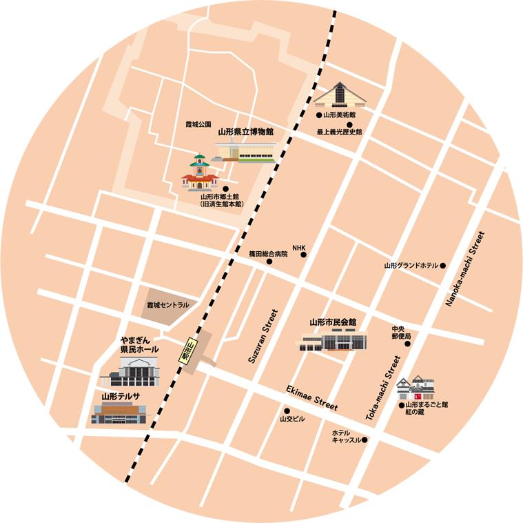 やまがた文化の回廊フェスティバル会場地図